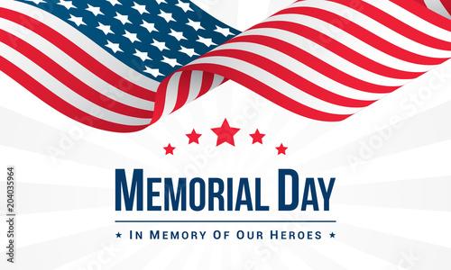Obraz na plátně Memorial Day Background Vector illustration, USA flag waving with text
