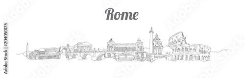 ROME city panoramic vector hand drawing artwork