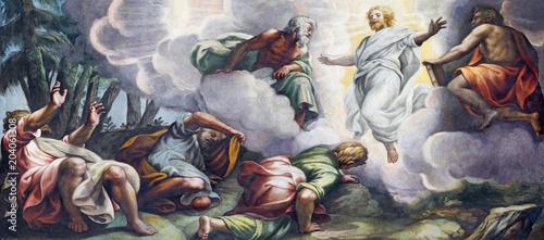 Vászonkép PARMA, ITALY - APRIL 16, 2018: The fresco of Transfiguration on the mount Tabor in Duomo by Lattanzio Gambara (1567 - 1573)