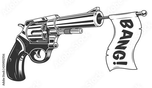 Canvas Print A gun with a bang flag