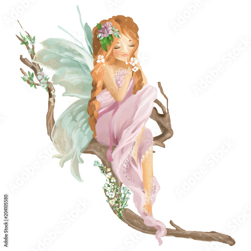 Beautiful hand painted oil fairy sitting on old wood branch with floral bouquet, flowers wreath isolated on white