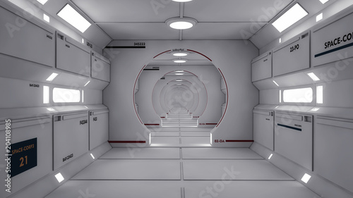 Obraz na plátně 3D Render. Futuristic spaceship interior corridor