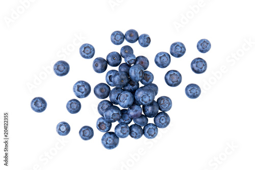 Fototapeta Heap of blueberries, fresh juisy berries, isolated on white background, top view