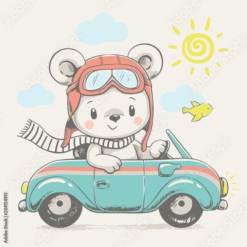 Fototapeta premium Słodki Miś podczas jazdy samochodem kreskówka ręcznie rysowane ilustracji wektorowych. Może być stosowany do nadruków na koszulkach, projektowania mody dla dzieci, powitania z okazji urodzin baby shower i karty z zaproszeniem.