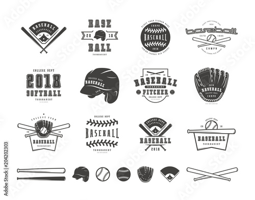 Wallpaper Mural Emblems and badges set of baseball team