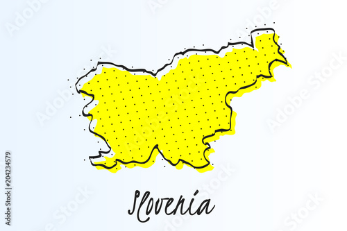 Canvas Print Map of Slovenia, halftone abstract background