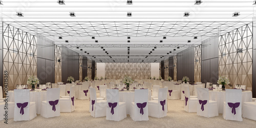 Leinwand Poster banquet hall 3d,rendering
