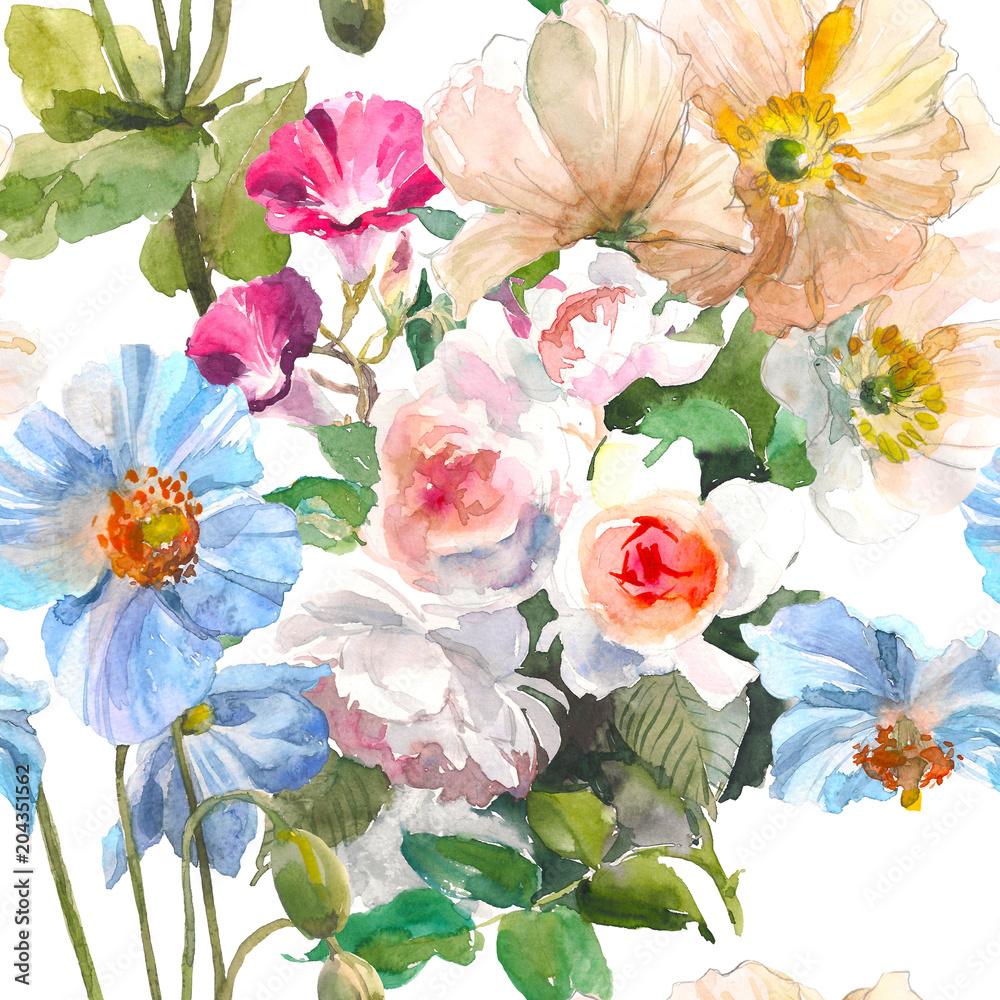 Bezszwowy kwiecisty wzór z lato ogródu różami, żółtym maczkiem i błękitnym kwiatem na białym tle ,. Akwarela ilustracja. Ręcznie rysowane miękki wzór. Koncepcja kwiat. <span>plik: #204351562   autor: valeriyabtsk</span>