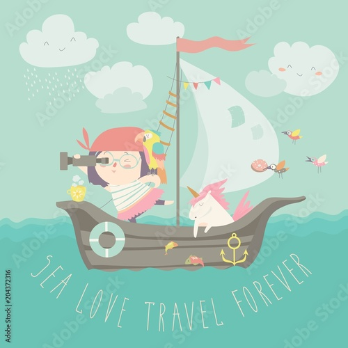 Happy girl with her unicorn boating at their ship Fototapeta