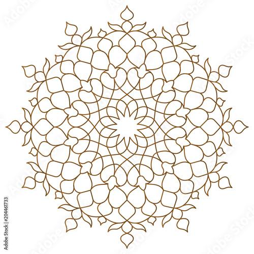 Wallpaper Mural Arabic circle pattern monoline ornament