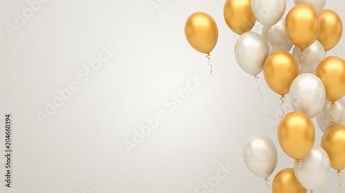 Obraz na plátne Gold and silver balloons background