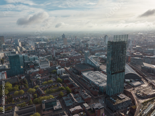 Fotografija Manchester City Centre Drone Aerial View Above Building Work Skyline Construction Blue Sky Summer Beetham Tower Deansgate