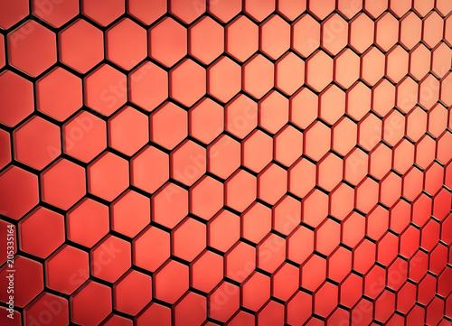 Fototapeta premium Streszczenie tablica shinny czerwonych wielokątów. Renderowania 3d