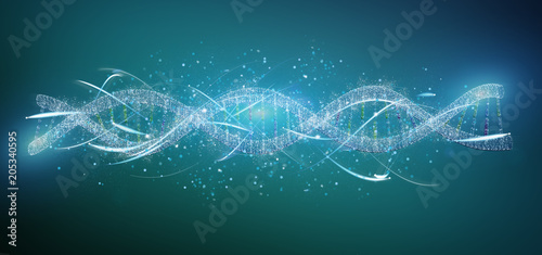 Obraz na plátne View of a 3d render DNA isolated on a background