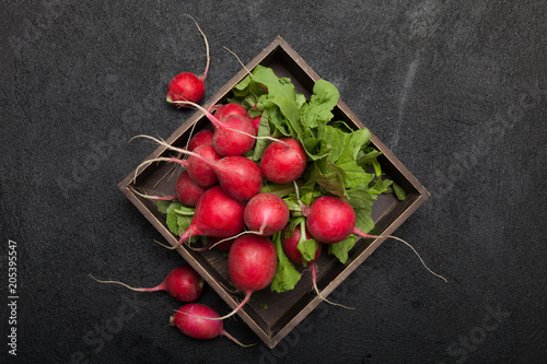 Fresh radish bunch, rustic agriculture background.