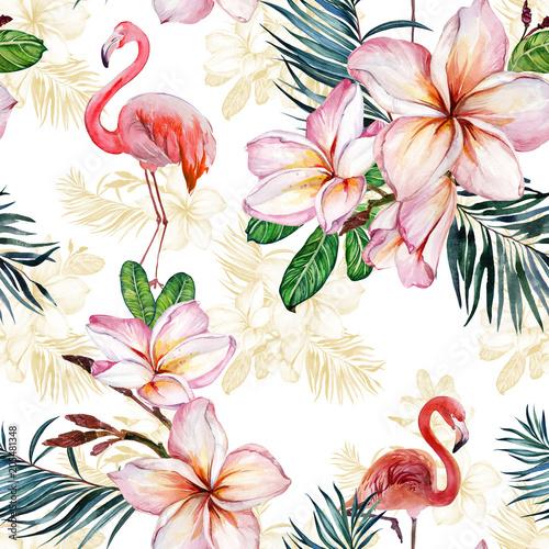 Fototapeta z flamingiem i kwiatem