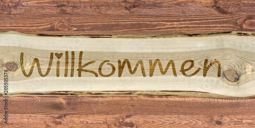 Fotografie, Tablou Holzschild mit der Aufschrift Willkommen