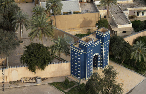 Fotomural Aerial view of the replica of the Ishtar gate at the entrance of Babylon, Iraq