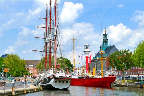 Emden, Hafen, Ostfriesland Fototapet