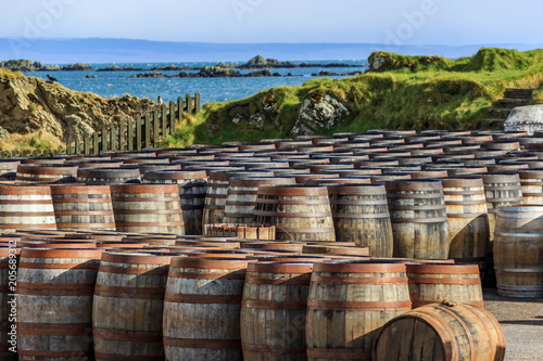 Obraz na plátne Scotch whisky barrels on the Island of Islay
