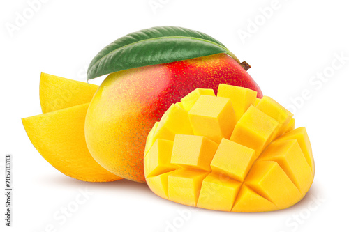Wallpaper Mural mango isolated on white background, clipping path, full depth of field