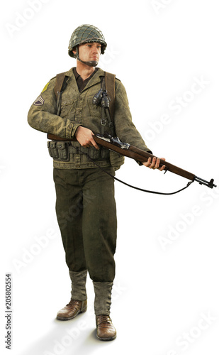 Photo Portrait of a uniformed male world war 2 combat soldier on an isolated white background