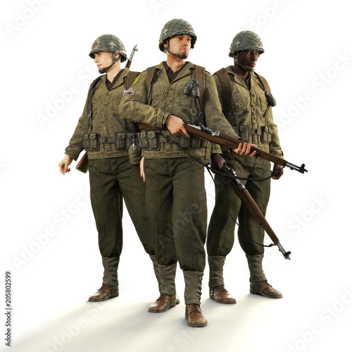 Canvas Print Portrait of a squad of uniformed world war 2 American combat soldiers on an isolated white background