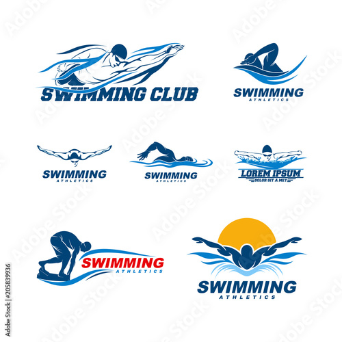Canvas Print Set of Swimming logo designs vector, Creative Swimmer logo Vector