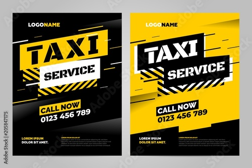 Wallpaper Mural Vector layout design template for taxi service