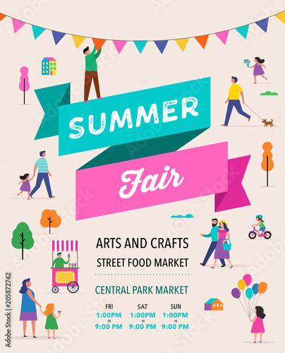 Tablou Canvas Summer fest, food street fair, family festival poster and banner design