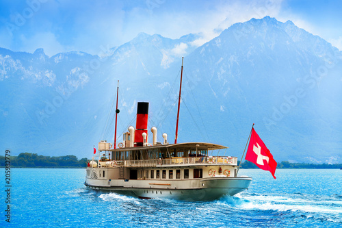 Canvas Print Geneve Lake Leman steamer ship Switzerland