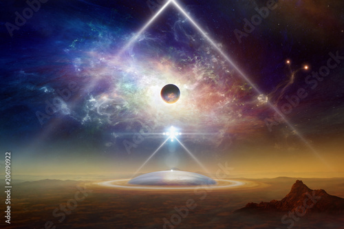 Canvas Print Aliens space ship above colony on planet Earth
