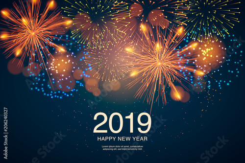 Tablou Canvas The year 2019 displayed with fireworks and strobes