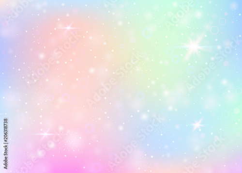 Canvas Print Unicorn background with rainbow mesh