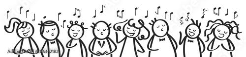 Photographie Chor, Gesangsgruppe, Männer und Frauen singen gemeinsam, Banner, lustige Strichf
