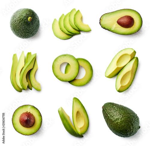 Foto Set of fresh whole and sliced avocado