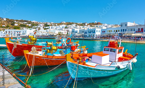 Canvas Print Port with old fishing boats