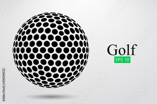 Tablou Canvas Silhouette of a golf ball. Vector illustration