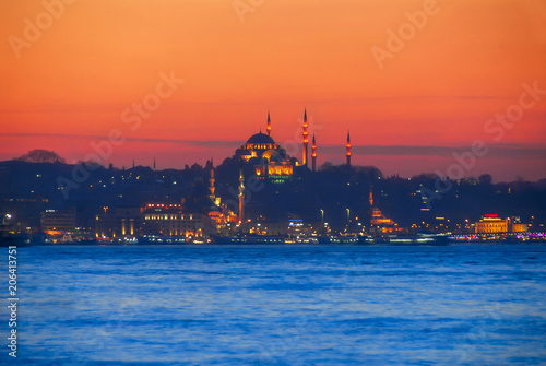 Istanbul, Turkey, 3 March 2007: Suleymaniye Mosque is an Ottoman mosque in the Eminonu district of Istanbul.