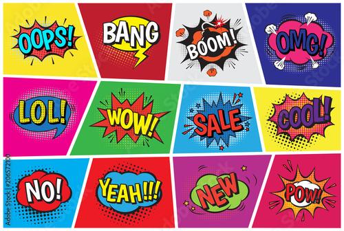 Fototapeta Chmurki komiksowe w stylu popart z humorystycznym tekstem boom lub huk do pokoju