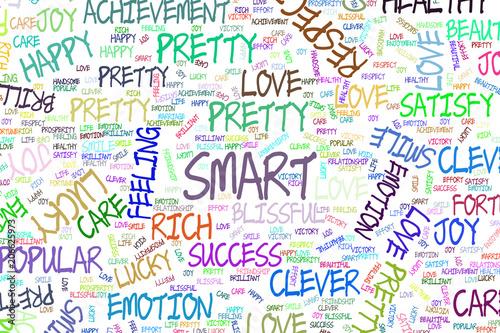 Smart, decorative hand drawn positive emotion word cloud illustrations. Words, sketch, messy & backdrop.