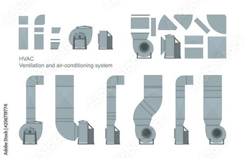 Fotografía Vector set of ventilation elements.