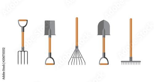 Obraz na plátně Vector illustration. Set of tools for gardening. Flat design.