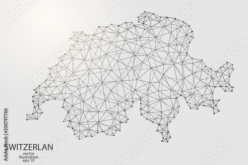 Photo A map of Switzerland consisting of 3D triangles, lines, points, and connections