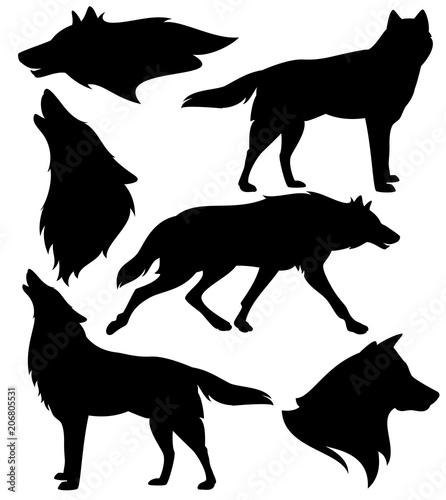 Fototapeta premium zestaw sylwetka wilka - czarny wektor wzór biegających, wyjących i stojących zwierząt