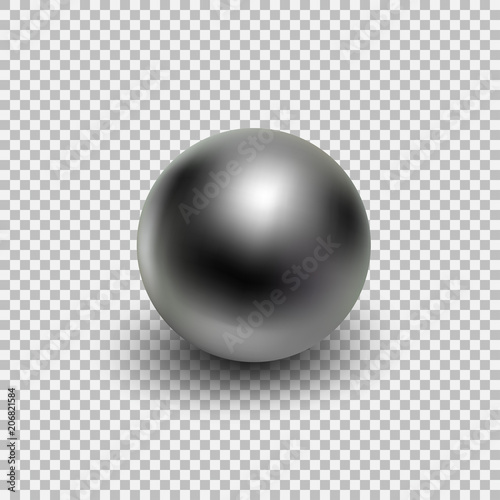 Canvas Print Chrome metal ball realistic isolated on transparent background.