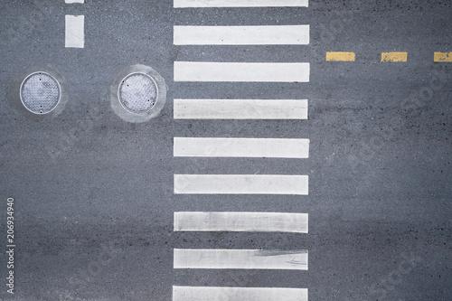 Carta da parati Aerial photo top view over pedestrian crossing on traffic road
