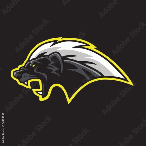 Honey Badger Mascot Logo Template Vector Fototapet