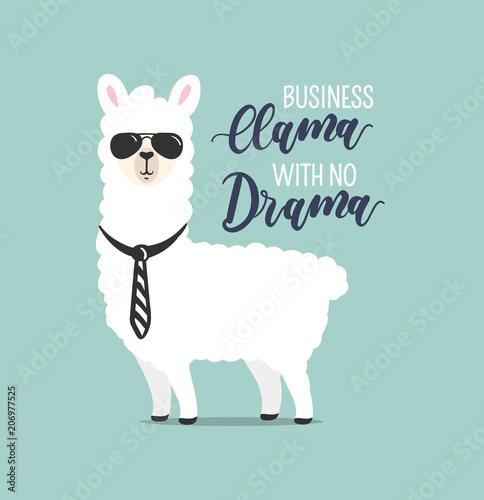 Canvas Print .Business Llama with no drama cute card with handrawn alpaca. Greeting card for