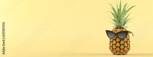 pineapple with sunglasses on a yellow background. 3d rendering